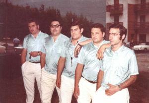 Fundadores de la charanga Incansables: Pipas, Zapa, Canario, Paotxa y Sietemesino